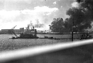 Pearl Harbor ships being destroyed
